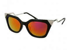 Saulesbrilles Alensa Cat Eye Spīdīgas Melns Spogulis