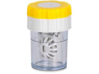 Rotējošā vāciņa lēcu konteineris - Dzeltens
