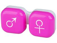 Alensa.lv - Kontaktlēcas - Lēcu konteineris Vīrietis& Sieviete- rozā