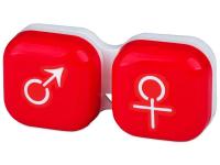 Alensa.lv - Kontaktlēcas - Lēcu konteineris Vīrietis& Sieviete- sarkans