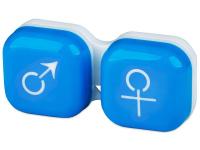 Alensa.lv - Kontaktlēcas - Lēcu konteineris Vīrietis& Sieviete- zils