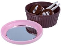 Alensa.lv - Kontaktlēcas - Lēcu futlāris ar spoguli Muffin- rozā